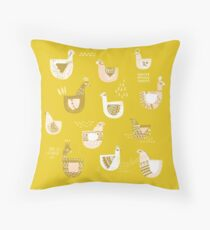 Folk Birds Yellow by Katy Bloss Throw Pillow