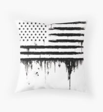 American flag Grunge Splashes Throw Pillow