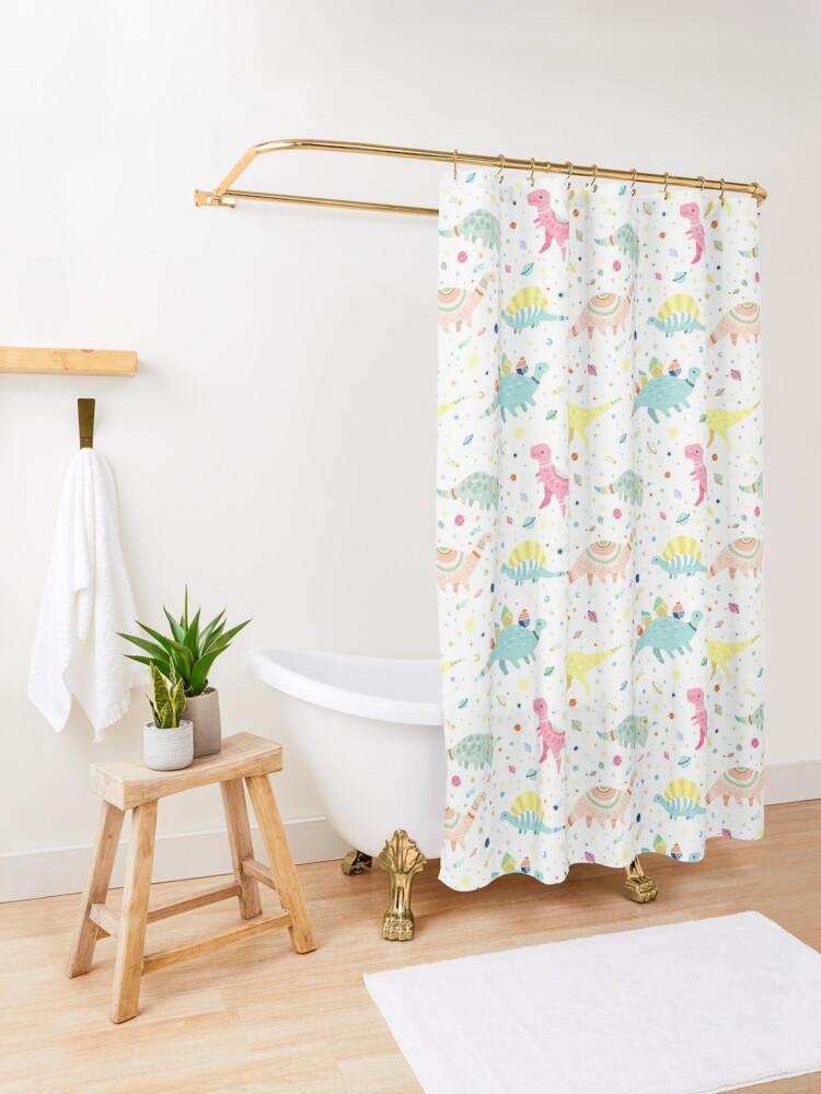 Alternate view of Dinosaur Pattern Shower Curtain