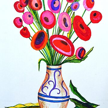 Simple red flowers in vase. Drawing made with markers. by oanaunciuleanu