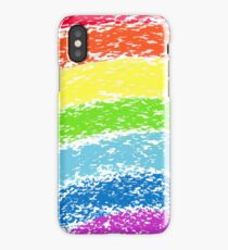 Pastel crayon painted rainbow, vector image iPhone Case/Skin