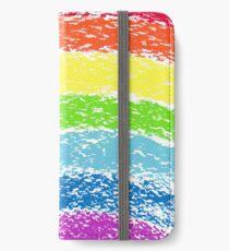 Pastel crayon painted rainbow, vector image iPhone Wallet/Case/Skin