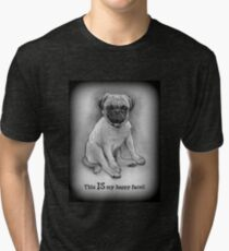 Pug Dog, Humor, This IS My Happy Face, Cute/Ugly Puppy Tri-blend T-Shirt