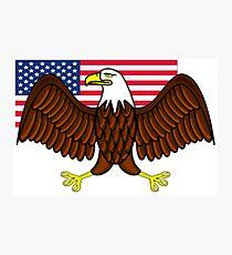 American Bald Eagle and Flag Photographic Print