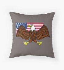 American Bald Eagle and Flag Throw Pillow