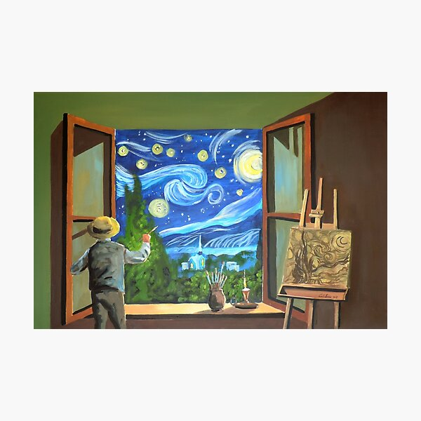 Van Gogh & the Starry Night oil on canvas painting Photographic Print