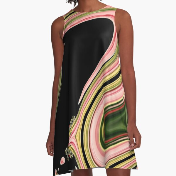 modern abstract black green neon pink swirls A-Line Dress