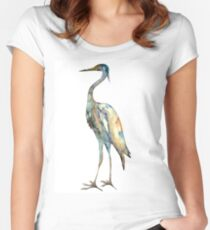 Crane #2 - Bird Ink Painting Women's Fitted Scoop T-Shirt