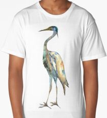 Crane #2 - Bird Ink Painting Long T-Shirt