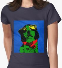 FUNNY DOG Green Blue Women's Fitted T-Shirt