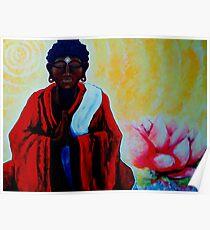 Red Buddha Lotus Flower Peace Zen Balance Namaste Soul Healing Love Karma Yoga Reiki Nirvana Poster