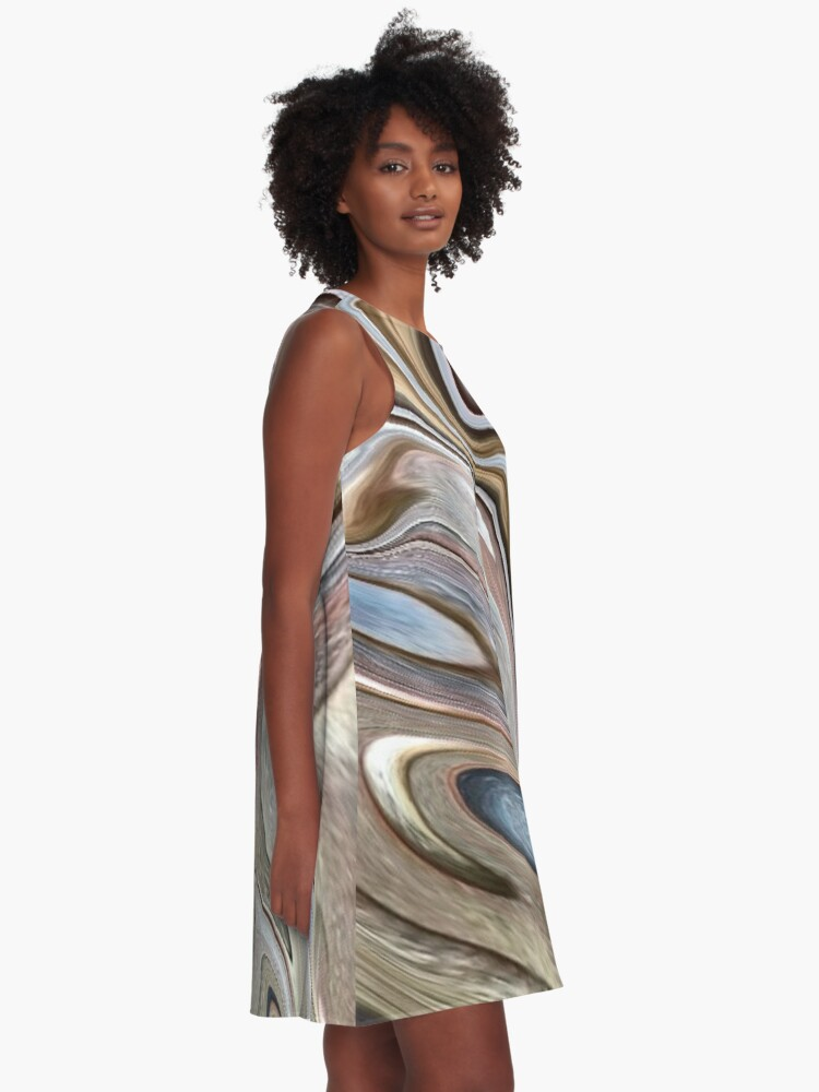 Alternate view of cool Abstract neutral Chocolate brown tan swirls pattern A-Line Dress