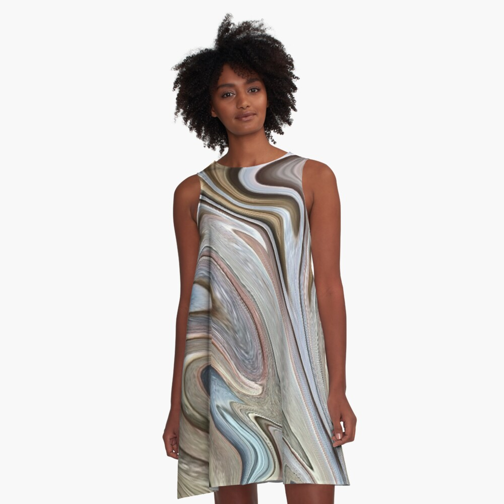 cool Abstract neutral Chocolate brown tan swirls pattern A-Line Dress