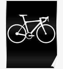 Bicycle, Racing Bike, Road Bike, Racing Bicycle, White on Black Poster