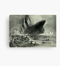 Titanic, 1912, RMS Titanic, Cruise, Ship, Disaster, Untergang der Titanic by Willy Stöwer, 1912 Canvas Print