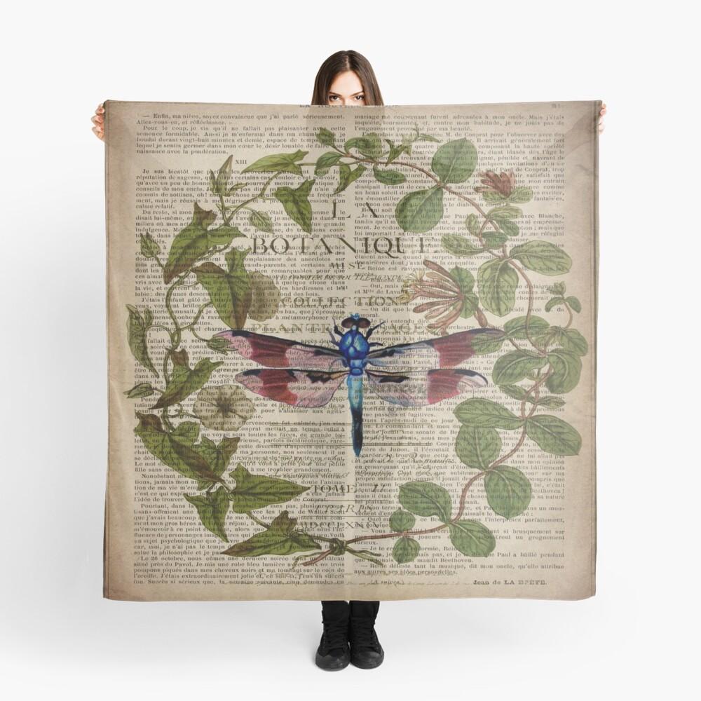 französische Libelle der modernen Blätter botanische Kunstweinlese Tuch
