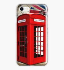 rustic grunge union jack retro london telephone booth iPhone Case/Skin