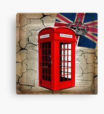 rustic grunge union jack retro london telephone booth Canvas Print