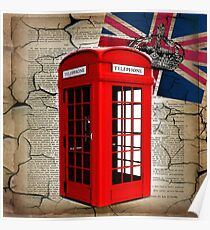 rustic grunge union jack retro london telephone booth Poster