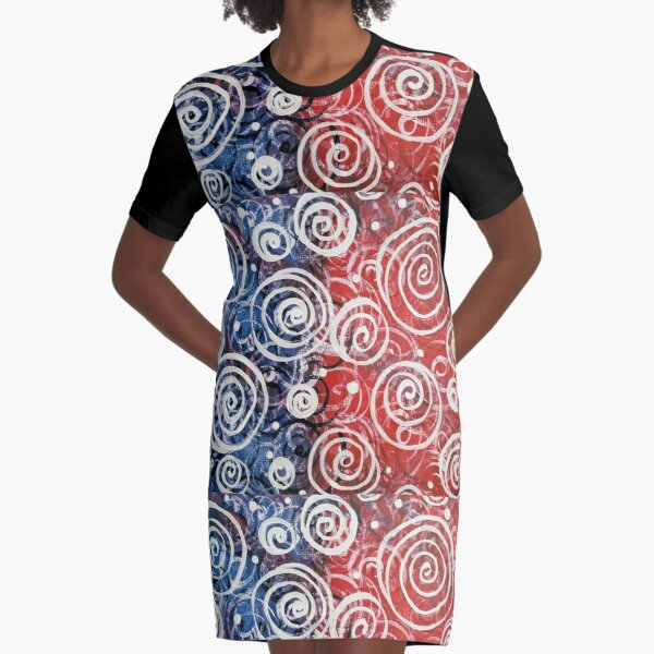 Spinning Tops Red White Blue Patriotic 4th July Holiday Gift Ideas Gifts Design Home Abstract Jackie Carpenter Pattern USA Christmas Birthday Graphic T-Shirt Dress
