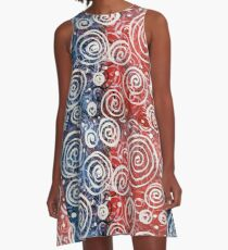 Spinning Tops Red White Blue and Swirls Patriotic  A-Line Dress