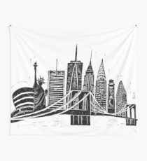 Linocut New York Wall Tapestry