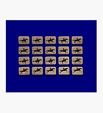 Eadweard Muybridge – 1830-1904 – Locomotion Theory – Horse and Jump – Blue Photographic Print