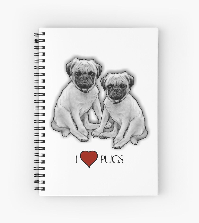 Cuadernos De Espiral I Love Pugs Dibujo A Lápiz De Dos Perros Pug