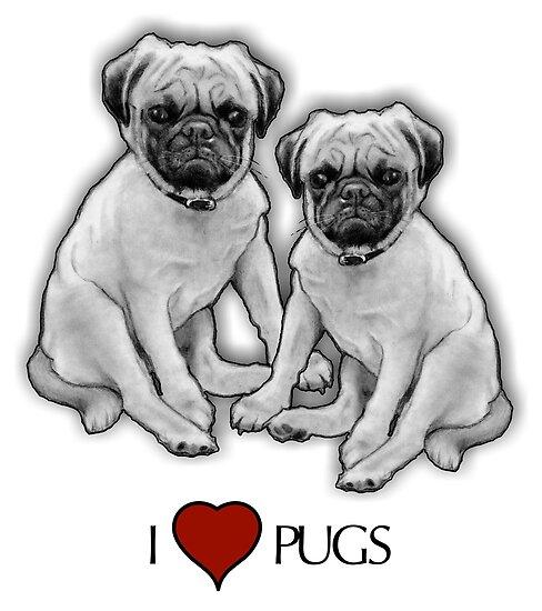 Pósters I Love Pugs Dibujo A Lápiz De Dos Perros Pug De Joyce