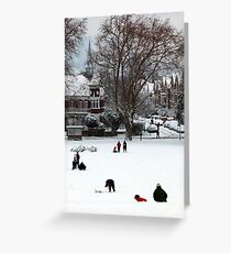 Hilly Fields Crescent in the snow Greeting Card