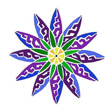 Flower Tribal Design Colored by KitayamaDesigns