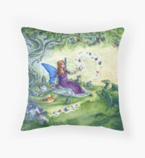 Ericka's Fairy Friends - Fairy, cat and dragon Throw Pillow