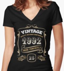 25th Birthday Gift Gold Vintage 1992 Aged Perfectly Women's Fitted V-Neck T-Shirt