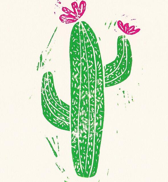 Linocut Cacti #2 by Bianca Green
