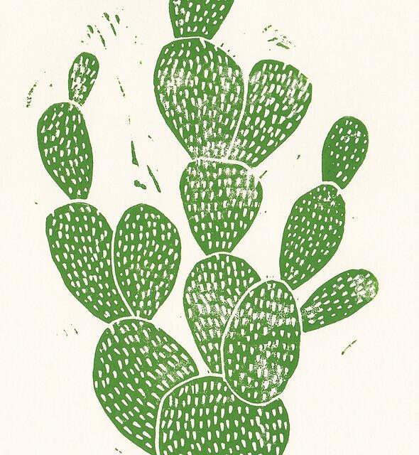 Linocut Cacti #1 by Bianca Green