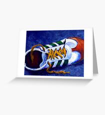 Shoeless Tennis Shoe Lost Shoe Vintage Gym Runner Running  Greeting Card