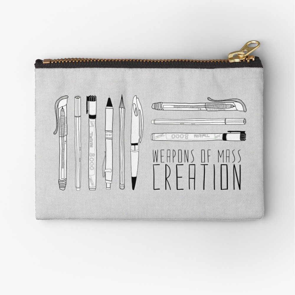 Weapons Of Mass Creation (on grey) Zipper Pouch