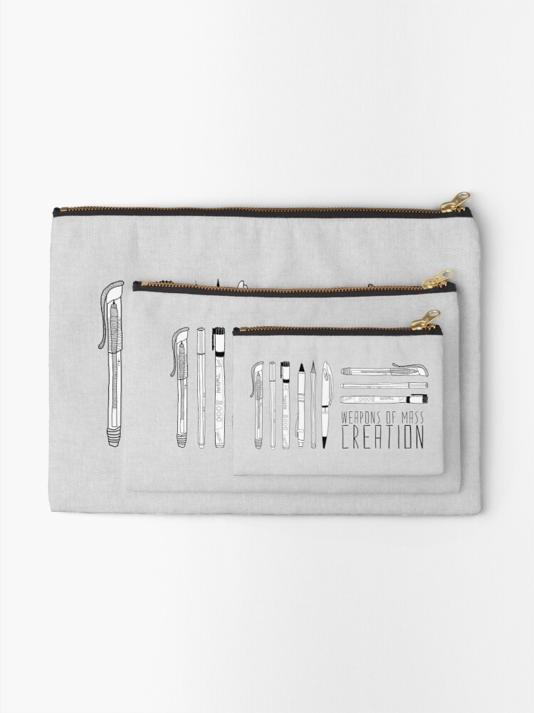 Alternate view of Weapons Of Mass Creation (on grey) Zipper Pouch