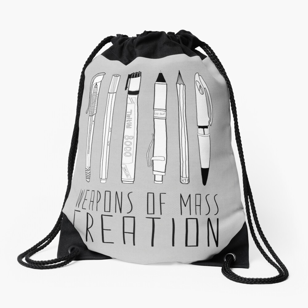 Weapons Of Mass Creation (on grey) Drawstring Bag