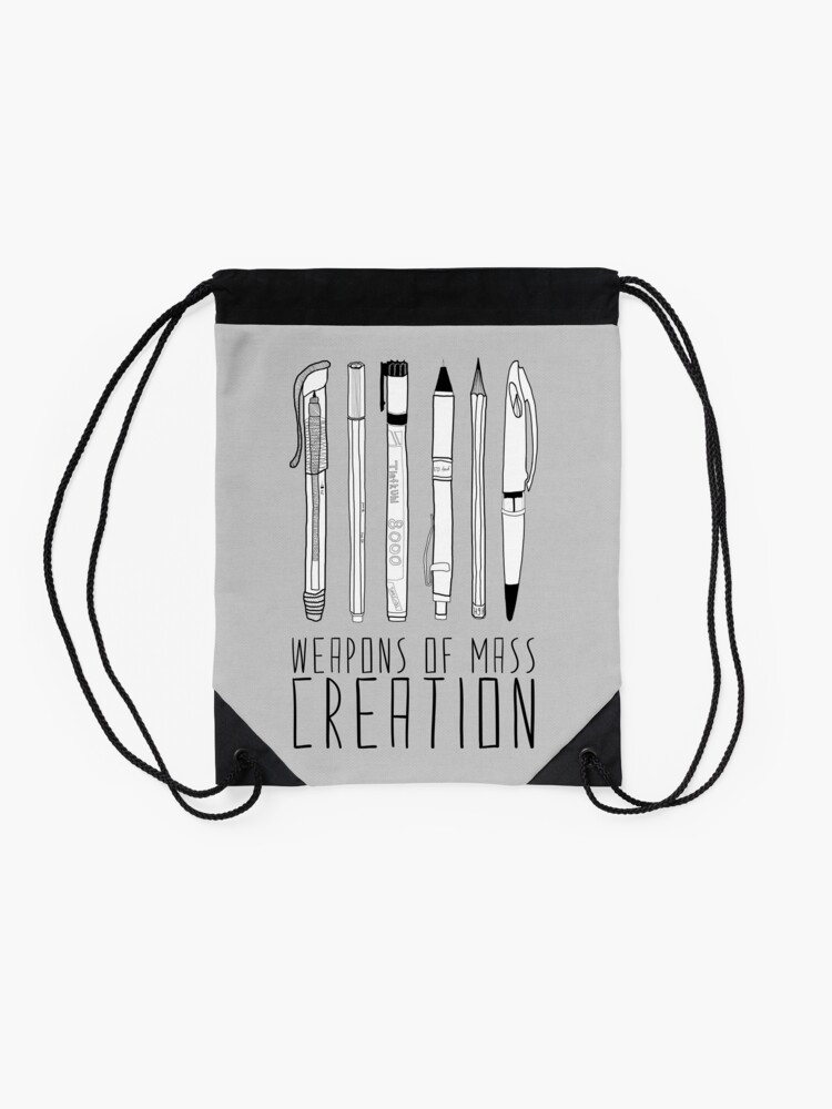 Alternate view of Weapons Of Mass Creation (on grey) Drawstring Bag