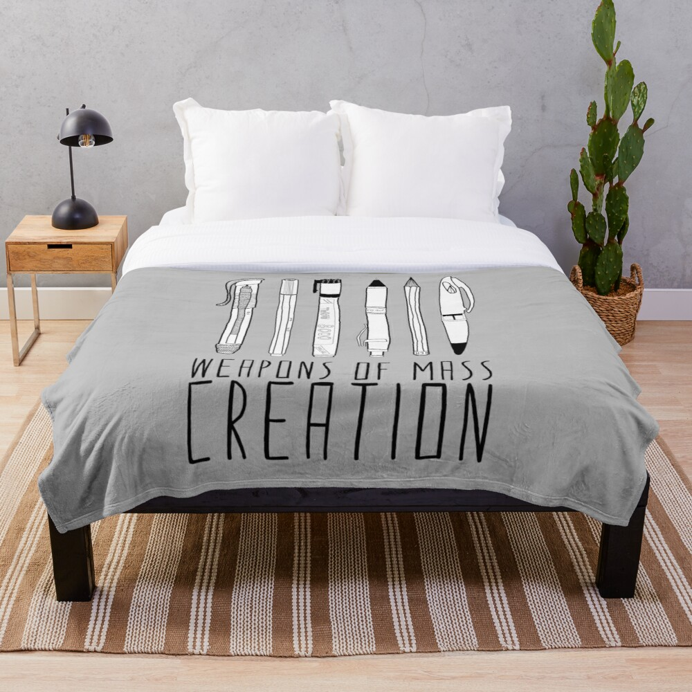 Weapons Of Mass Creation (on grey) Throw Blanket