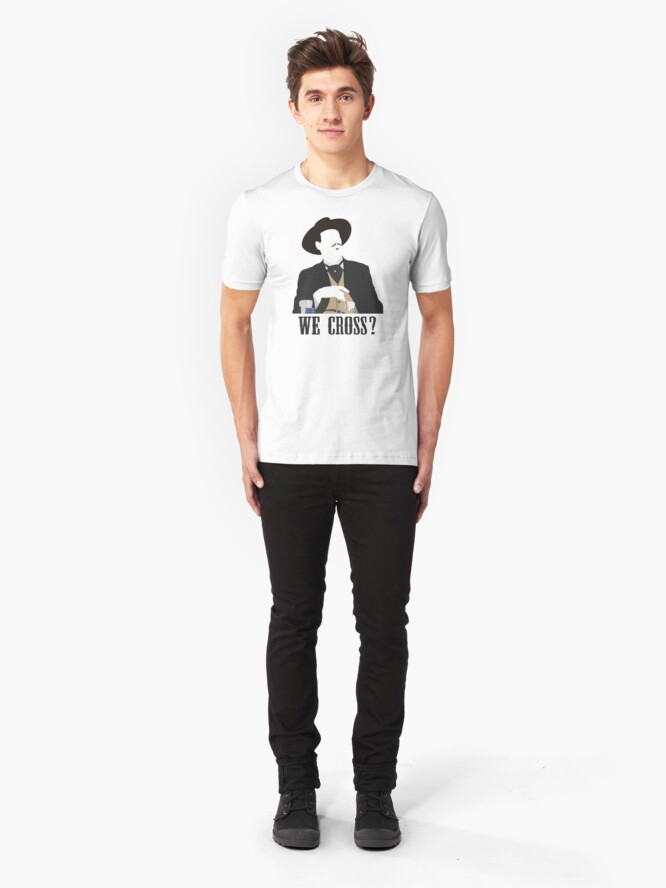 Alternate view of Tombstone: We Cross? Slim Fit T-Shirt
