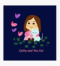 Cathy and the Cat with Butterflies Photographic Print