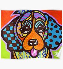 Miss Sophia Designer Dog Puppy Design Fun Colorful Beagles Basset Hound Foxhound English Yorkshire Talbot Bloodhound  Poster