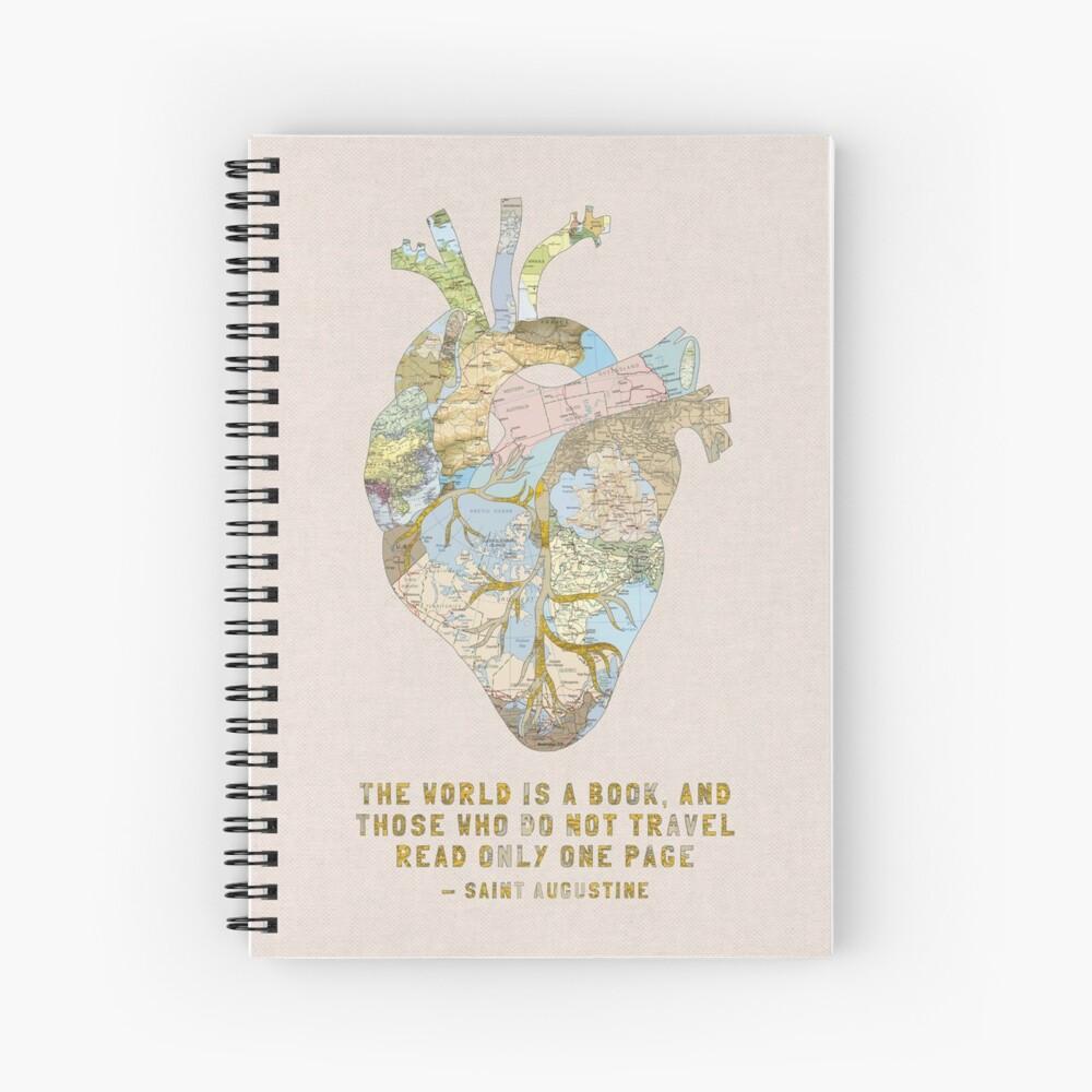 Das Herz eines Reisenden + Zitat Spiralblock