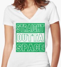 U.F.'Mo' Straight Outta Space Women's Fitted V-Neck T-Shirt