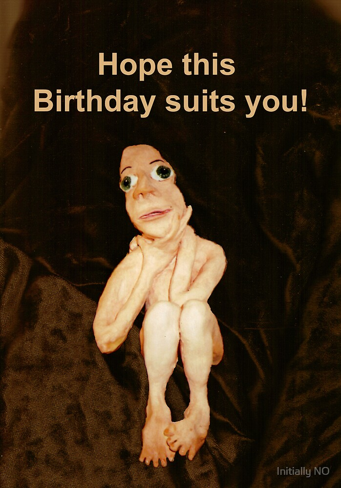 Birthday suit card by Initially NO