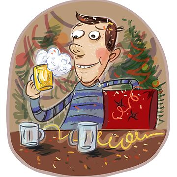 Holiday: happy man holding a glass of beer by furryclown