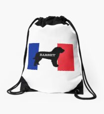 barbet name silhouette on flag Drawstring Bag