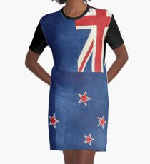 New Zealand Flag - Vintage retro style Graphic T-Shirt Dress